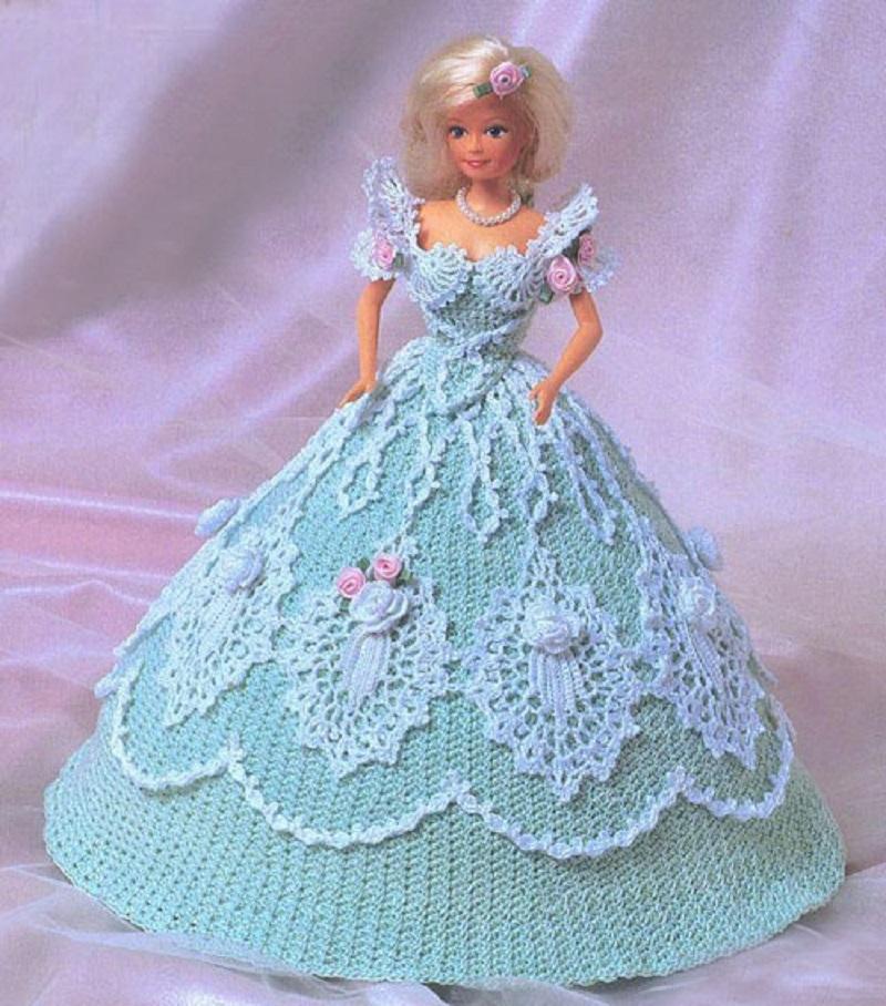 Вязание платьев на барби крючком 61