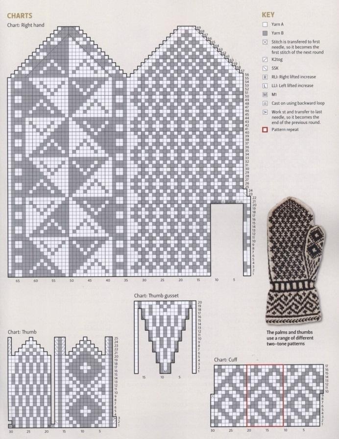 Вязание варежек с рисунком 61