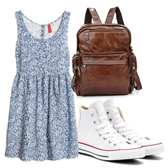 Летние платье с кроссовками