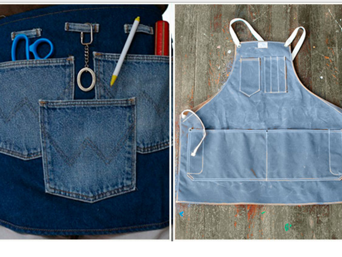 Как сшить фартук для мастера из старых джинсов