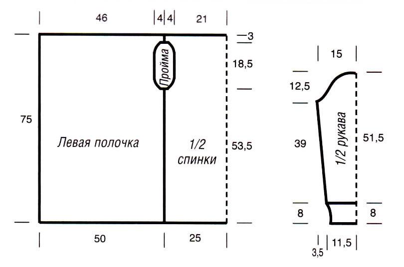 Схема выкройки модного кардигана