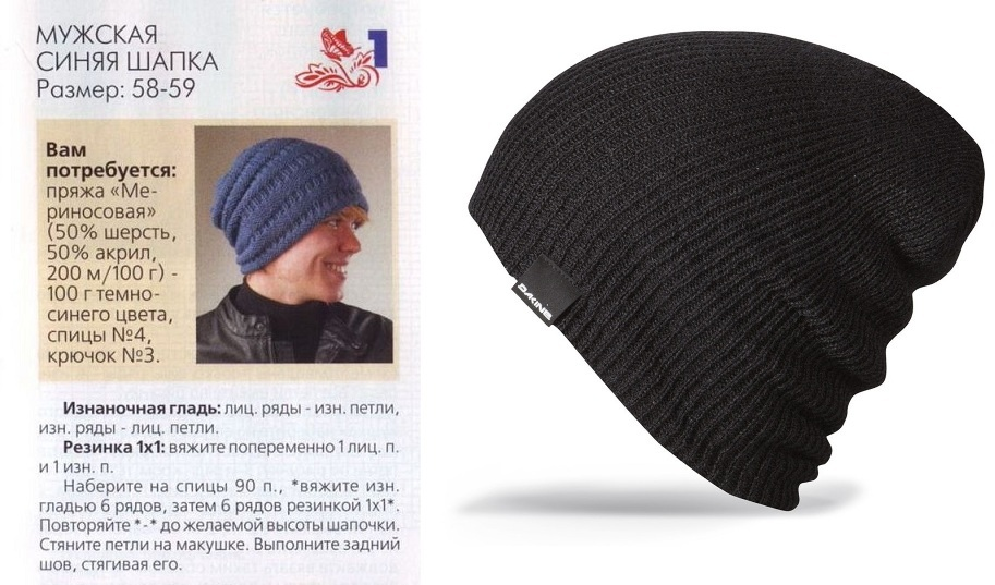 шапки бини спицами схемы