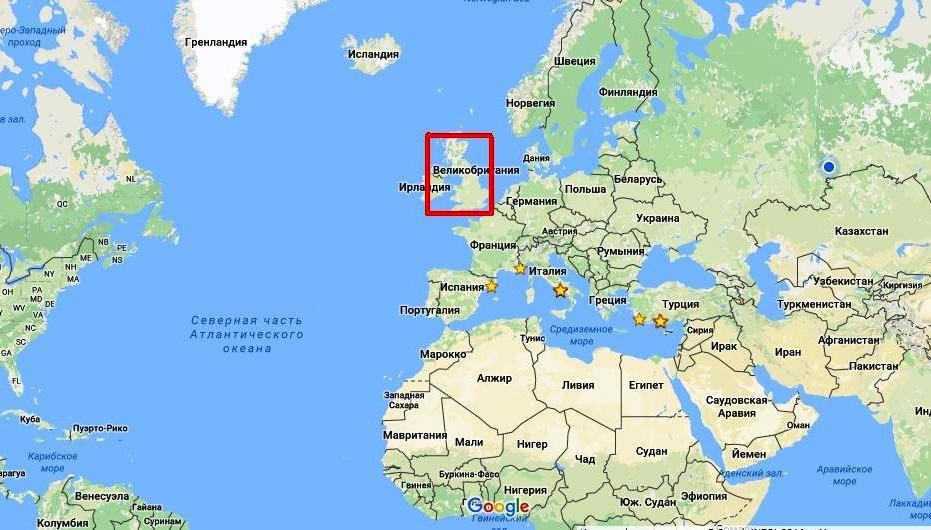 Где находится на карте мира великобритания
