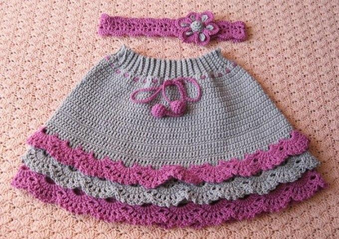 Летняя юбка для девочки спицы