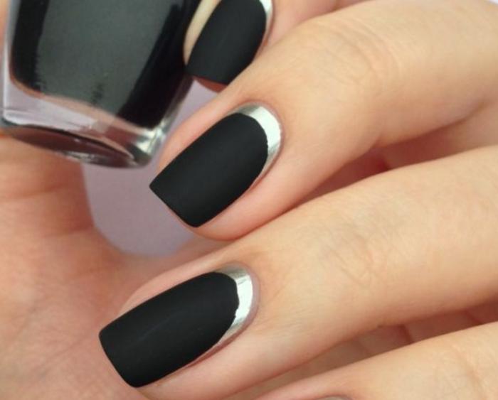 Как накрасить ногти под черное