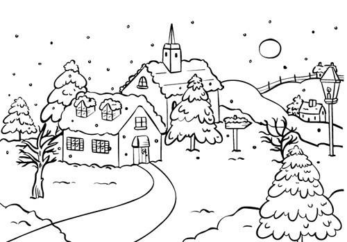 Картинки для срисовки зимний пейзаж