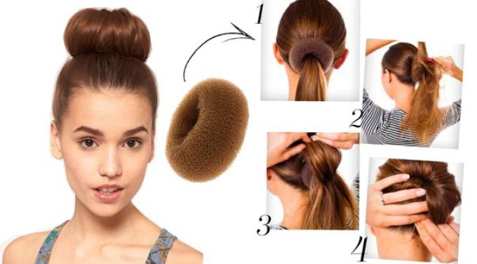 Прически на длинные волосы с бубликом фото пошагово