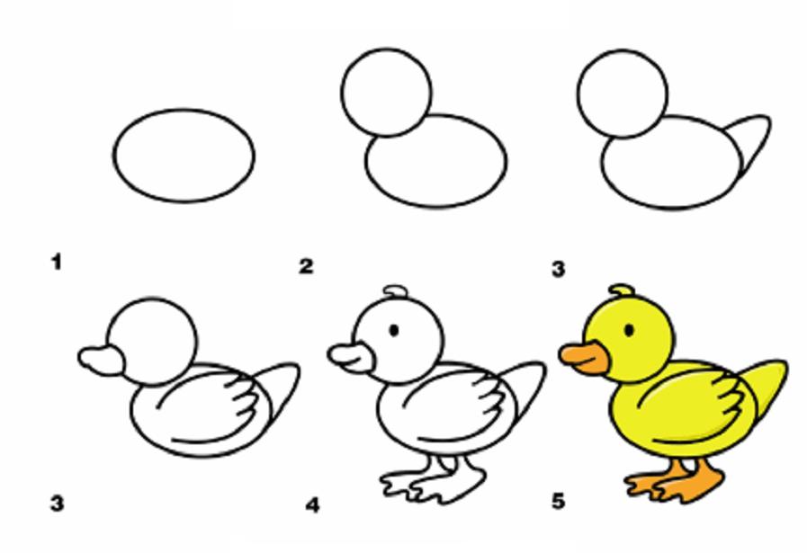 Рисовать уточек для ребёнка