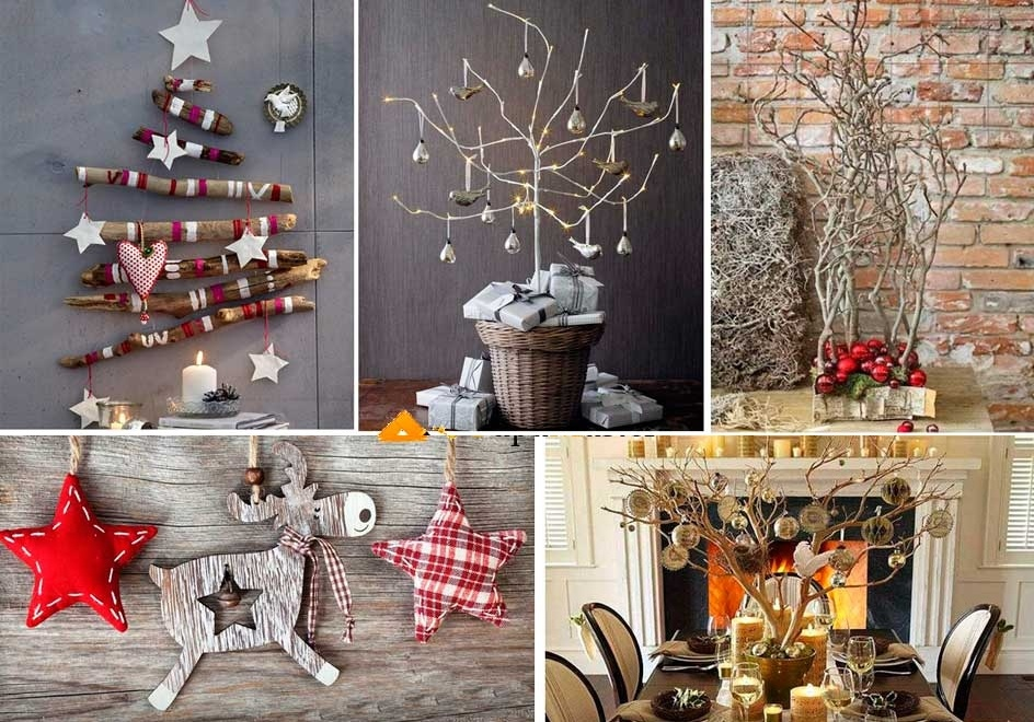 Сухое дерево в новогоднем декоре