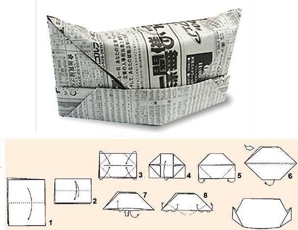 Схема шапки из газета