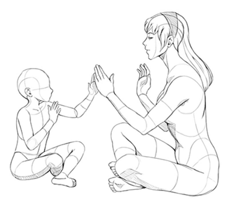 мама карандашом ребёнок рисунок и