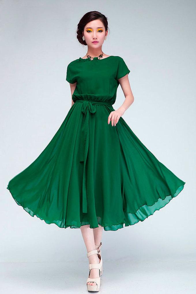 Простое платье из шифона без выкройки красиво разлетается