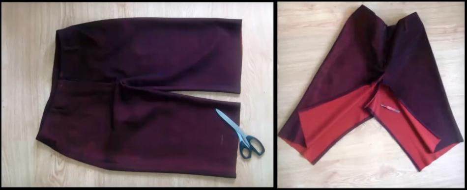 Как перешить брюки в юбку: отрезам лишнюю длину и распарываем внутренний шов