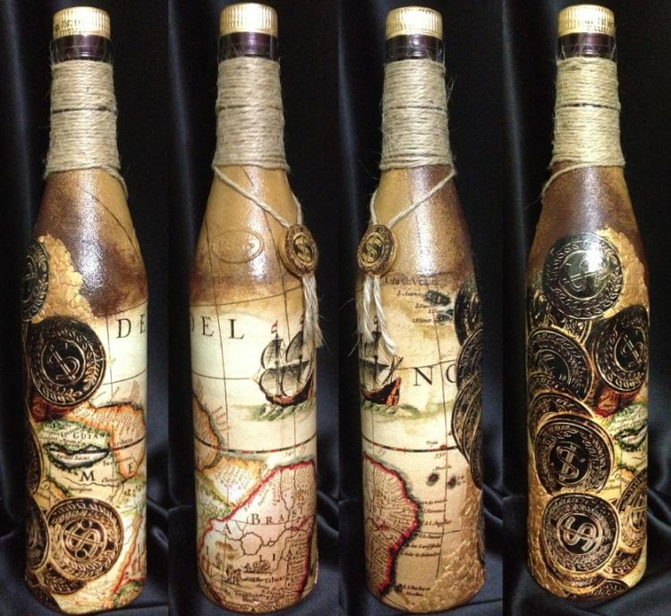 декупаж для начинающих бутылок пошагово с фото