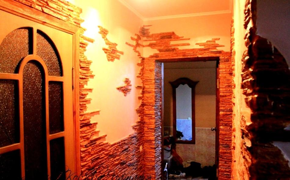 Пример №6 отделки внутренней части дома декоративным камнем из гипса