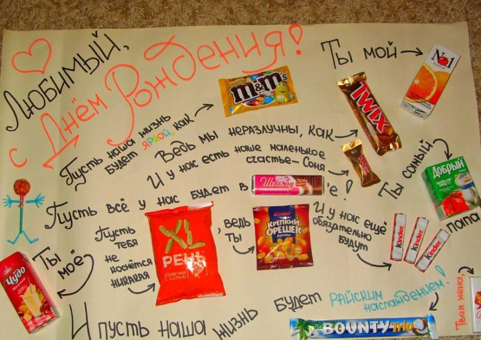 Плакаты с поздравлениями со сладостями 896