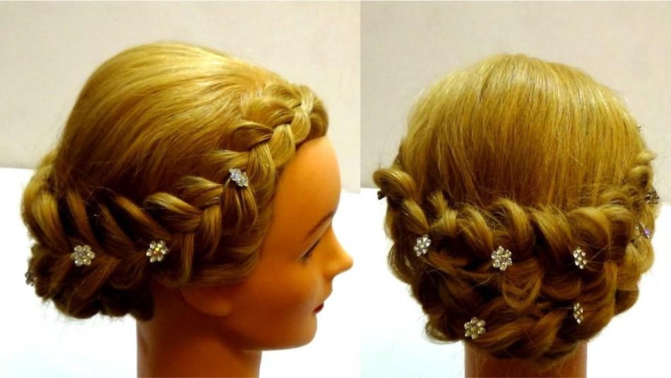 Прически из косичек на средние волосы с