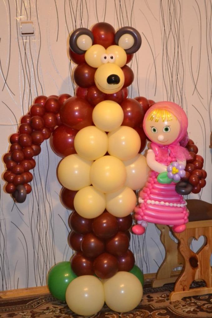Как сделать машу и медведь из шариков