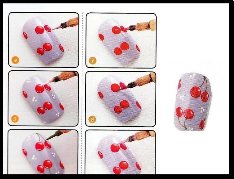 Рисунки для ногтей для начинающих пошагово с