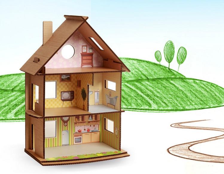 Дом из картона для кукол своими руками