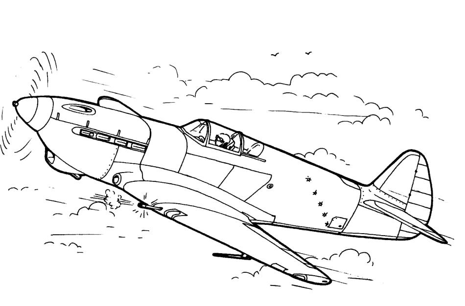 Самолет - раскраска для детей ,посвященная празднованию 9 мая