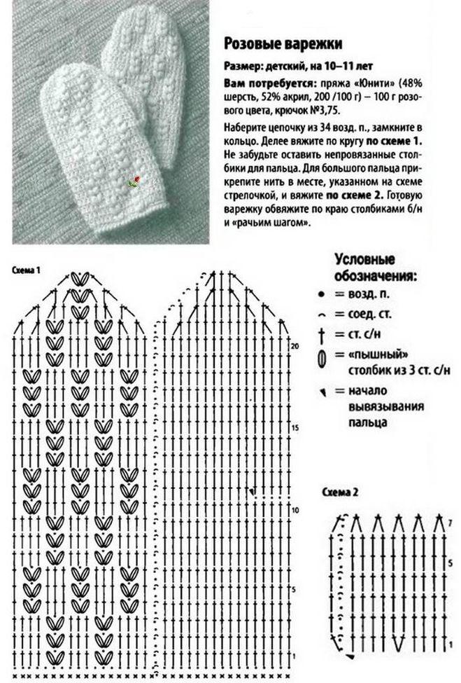 Варежки вязанные крючком схемы