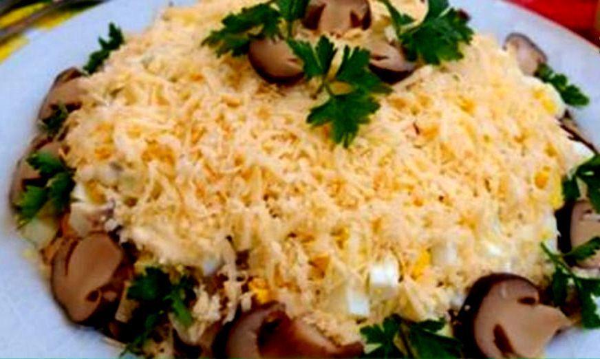 Салат с шампиньонами и курицей нежность рецепт с 167