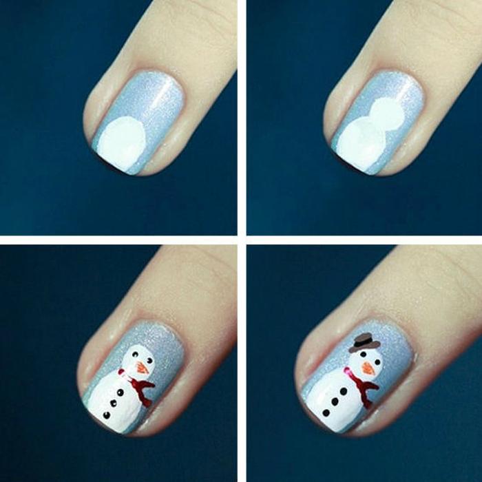 Легкий маникюр на короткие ногти на новый год фото