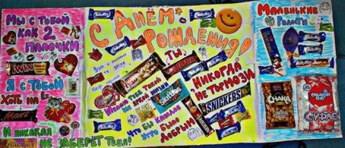 Поздравления на плакате со сладостями