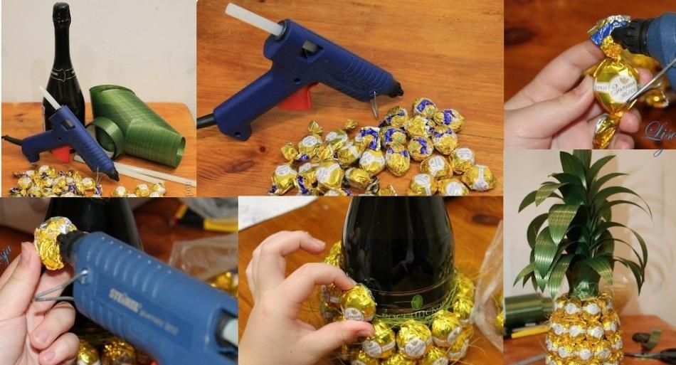 Шампанское в конфетах своими руками мастер класс 13