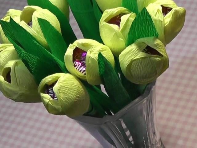 Мастер класс тюльпаны из бумаги и конфет  984