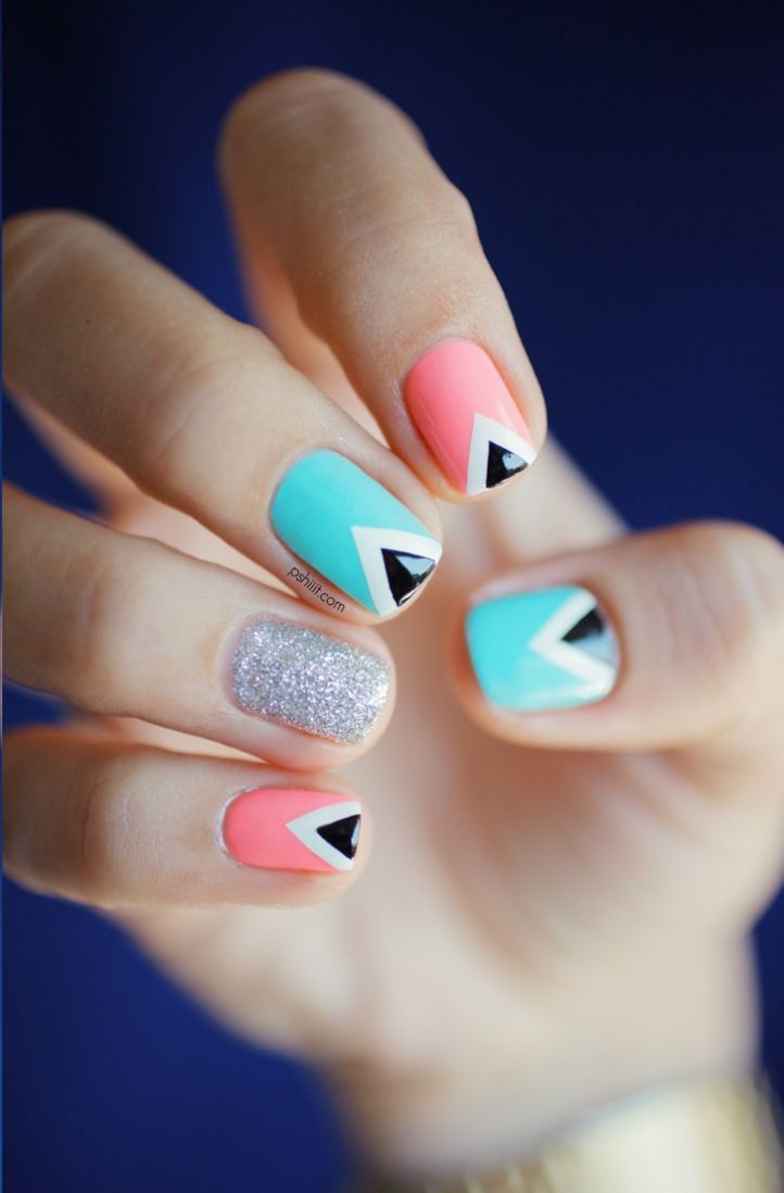 Как сделать на ногтях треугольники 161