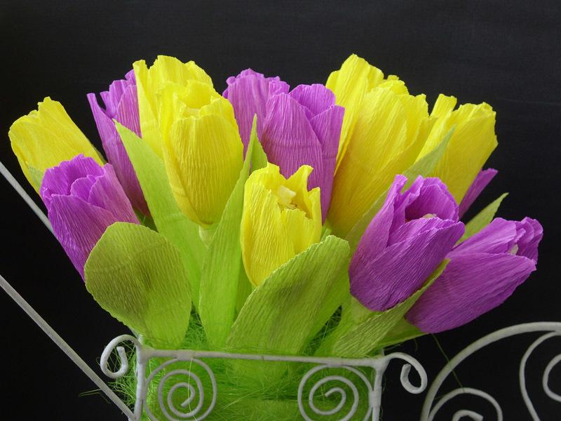 Тюльпаны из крепированной бумаги мастер класс