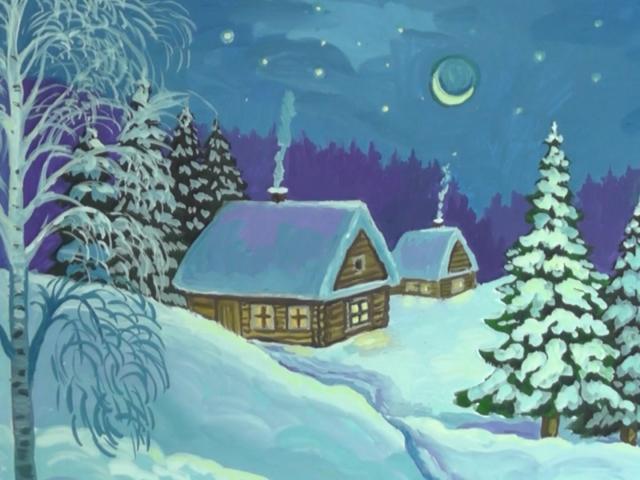 домики карандашом зимние рисунки