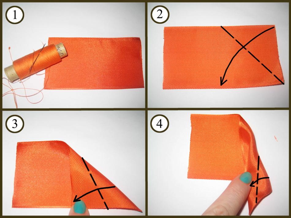 Сделать розочки из атласной ленты своими руками 80