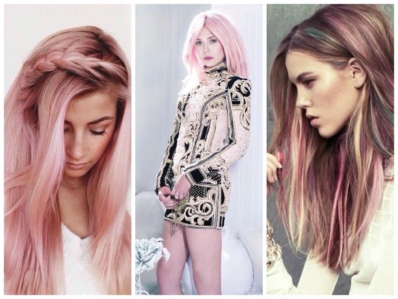 Розовые пряди на волосах