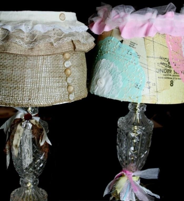 Декупаж светильника лентами, тканью, пуговицами