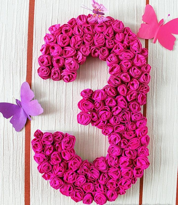 Как сделать цифру 1 на день рождения ребенку салфетками 184