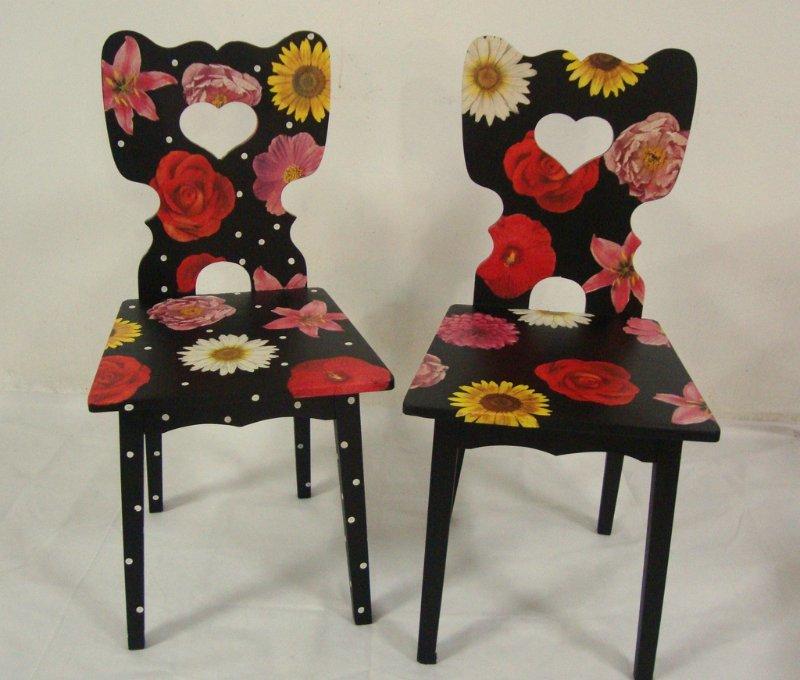 Декупаж стула, сделанного из табурета