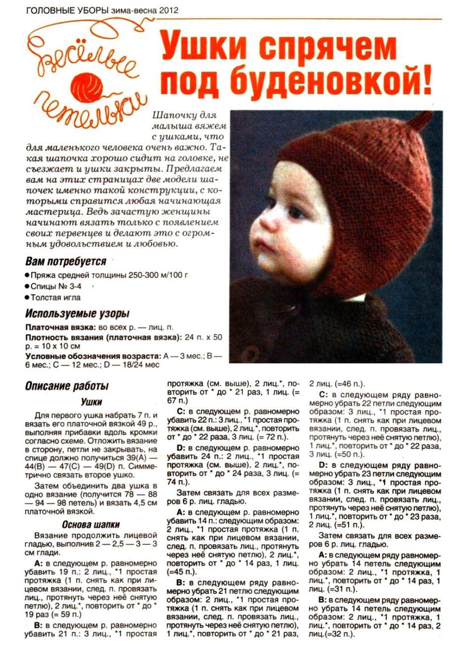 шапка-чулок для мальчика спицами схема и фото