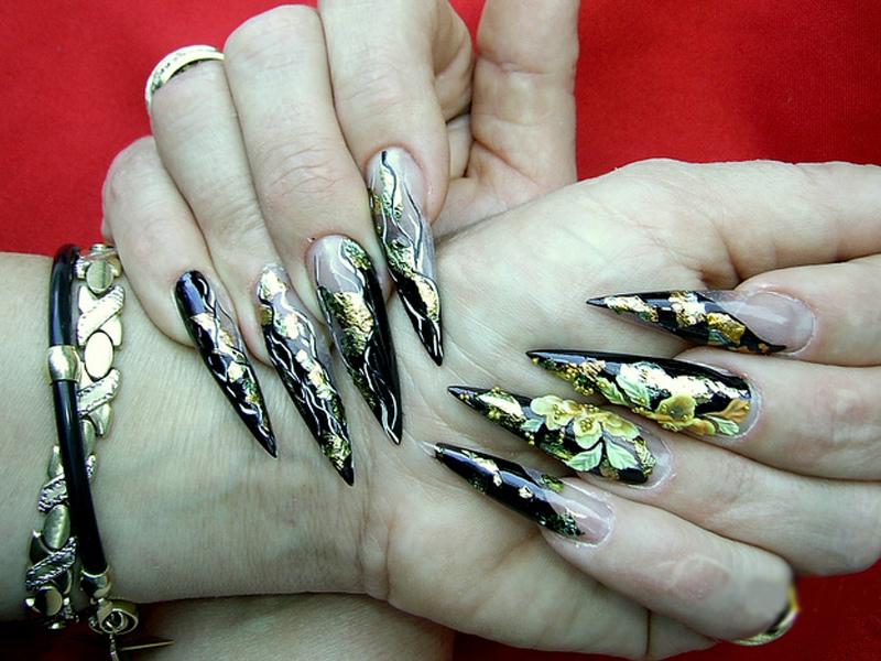 Ногти острые дизайн цвета