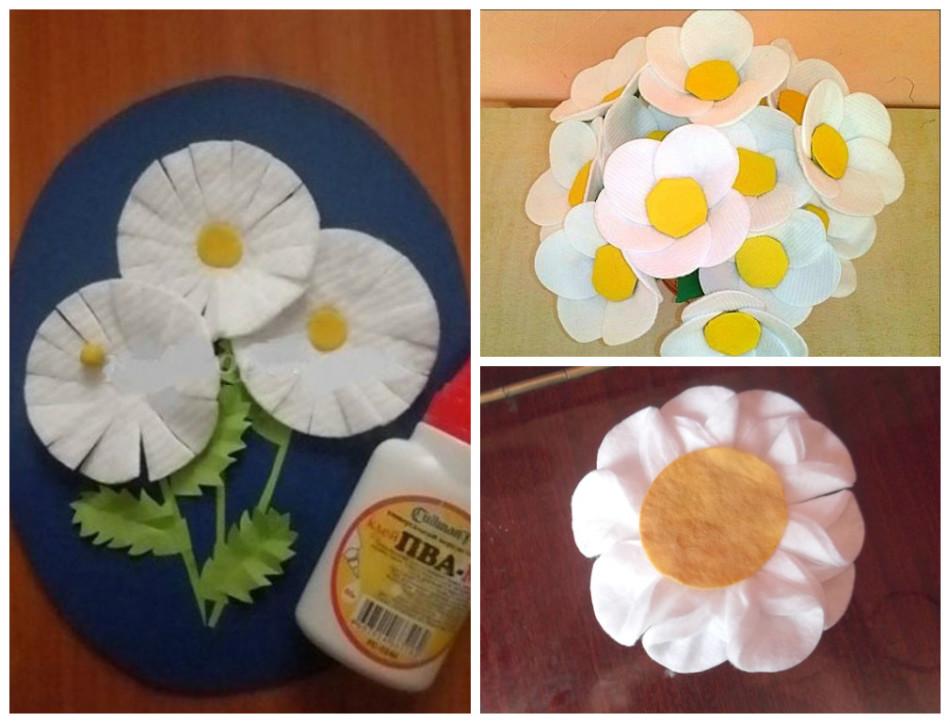 Поделки из цветов из ватных дисков 444