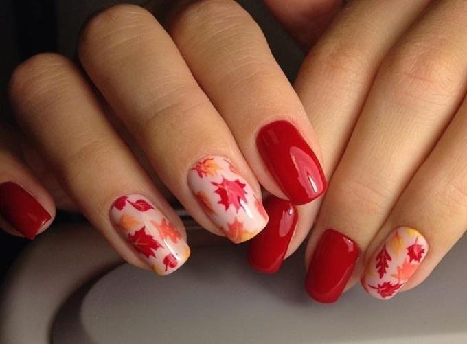 Кленовый лист рисунок на ногтях фото
