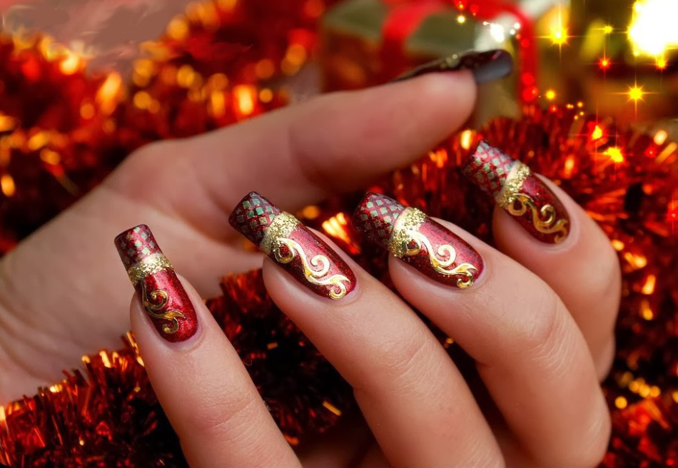 Наращивание ногтей картинки на новый год