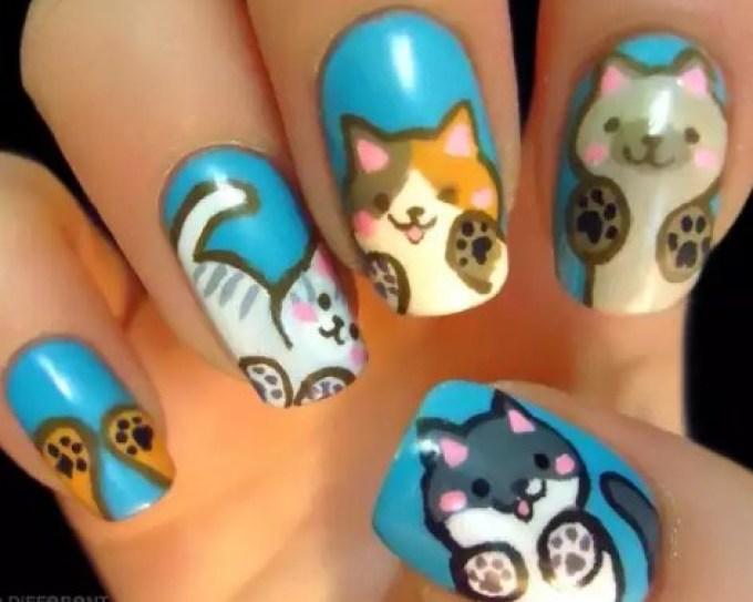 Мордочки животных на ногтях