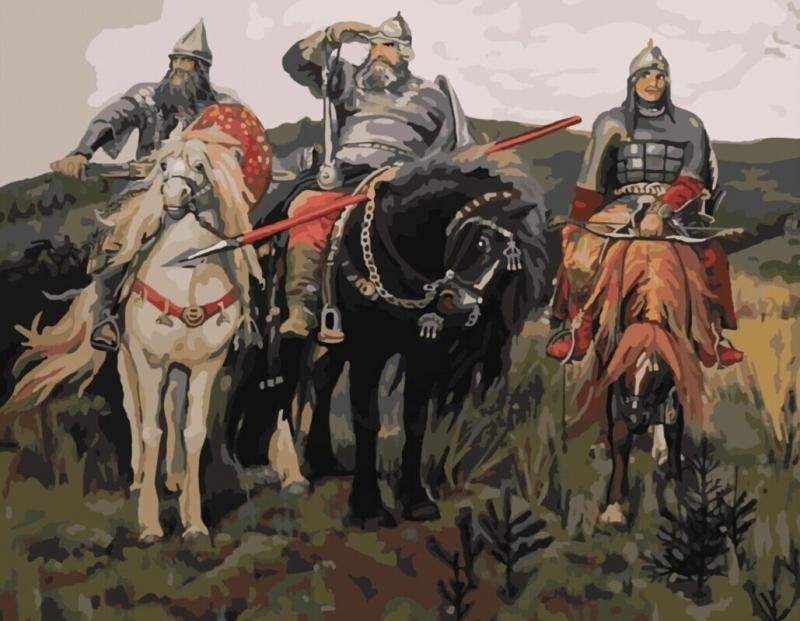Картина по номерам по мотивам всем известных трех богатырей васнецова
