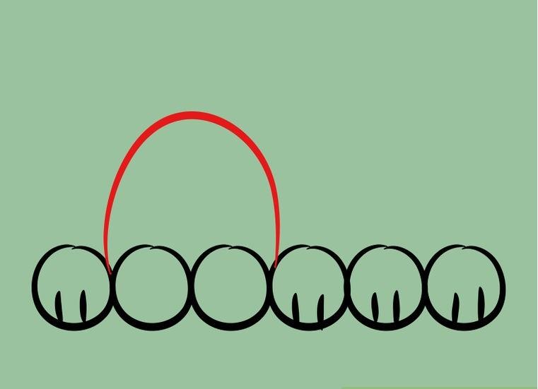 Как нарисовать лежащего щенка: шаг 3