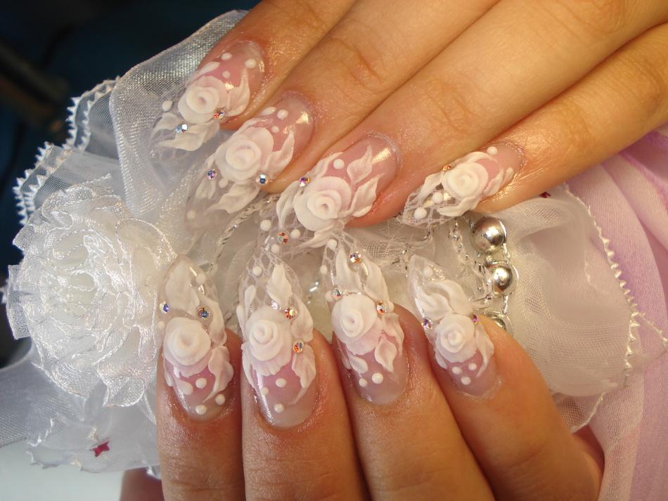 Свадебные ногти нарощенные