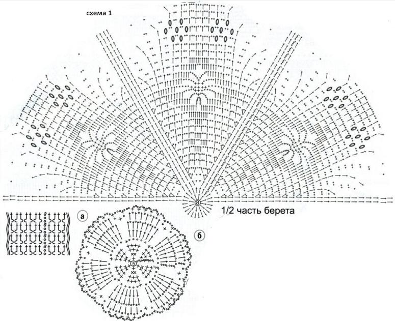 Береты вязание схемы крючком 40