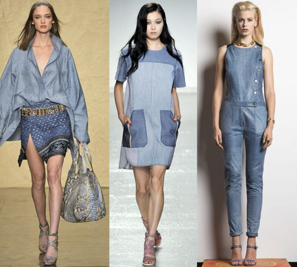 Модные женские вещи из джинсы